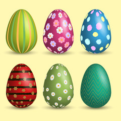 Set of Easter eggs with soft shadow. Vector