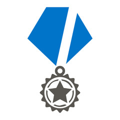 Award Badge Vector Icon. Qualified Reward Illustration. Quality Star Military Medal Logo.