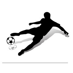Soccer player with a ball jumping, beats with his foot. Silhouette on a white background,