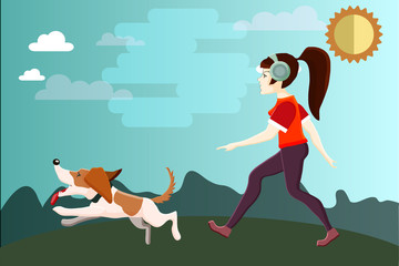 Vector characters. A young girl is walking a dog in a park. Flat style.