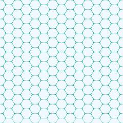 teal green line hexagon brick shape vector seamless pattern