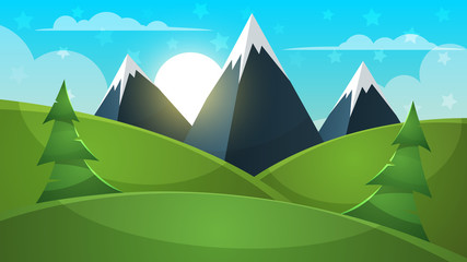Cartoon landscape. Mountain, firr, cloud sun illustration Vector eps 10