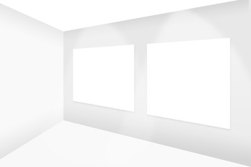 abstract empty white room hanging two empty white frame with spotlight shine to frame for gallery show