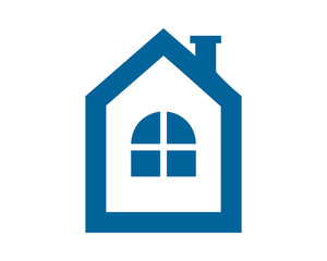 blue house window housing home residence residential real estate image vector icon