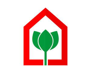 red house green lotus plant flower flora stem nature image vector icon
