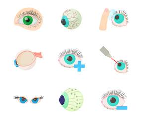 Eyes icon set, cartoon style