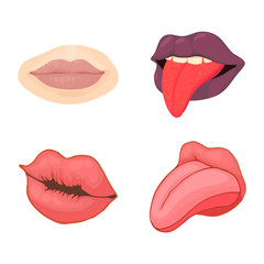 Lips icon set, cartoon style
