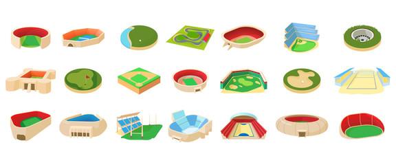 Sport arena icon set, cartoon style