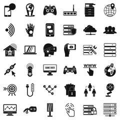 Transmitter icons set, simple style
