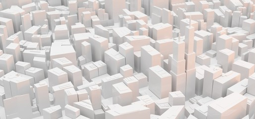 3D Rendering Of Low Poly Modern City