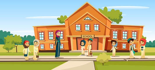 Muslim school vector illustration cartoon children and teacher going to school. Woman teacher and pupils kids in traditional Arabian Islamic clothes and schoolbags at schoolyard