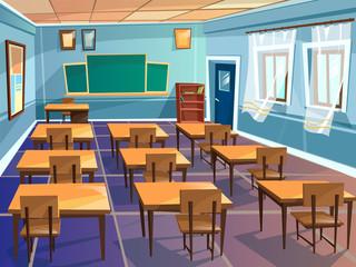 School classroom interior vector cartoon illustration. University schoolroom design with view on blackboard, student chairs and teacher table, door and windows for school education interior background