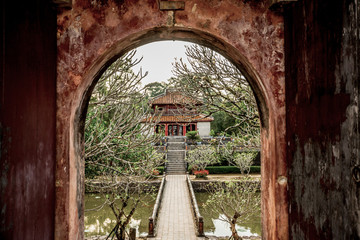 A view of Minh Mang royal tomb complex in Hue, Vietnam