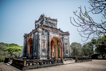 The tomb of  Khai Dinh, the 12th Emperor of the Nguyễn Dynasty in Vietnam is a popular tourist attraction in Hue, Vietnam