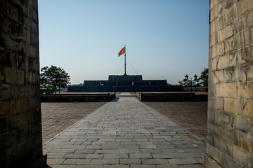 A view of the flag tower at the old Citadel in Hue, Vietnam