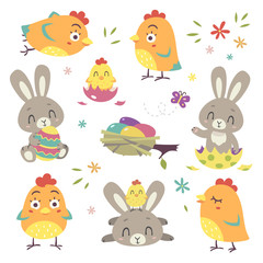 vector cartoon style Easter bunny and chicken illustration set