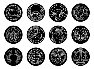 Astrology horoscope zodiac star signs icon set