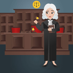 Female Judge Holding Gavel and Book of Law