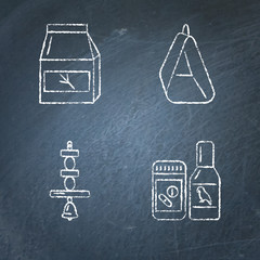 Chalkboard icon set of accessories for bird in cage