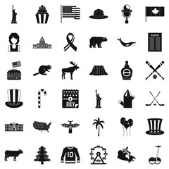 American holiday icons set, simple style