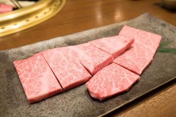 Hida Kobe Matsusaka Premium Beef wagyu at Yakiniku beef grill restaurant in Japan