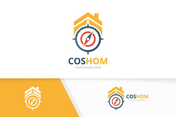 Vector compass and real estate logo combination. Navigation and house symbol or icon. Unique travel and rent logotype design template.