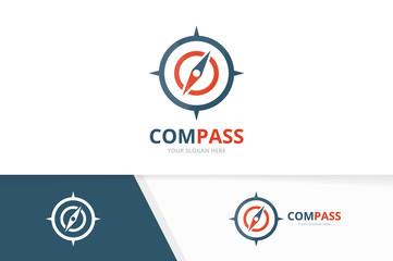 Vector compass logo combination. Navigation symbol or icon. Unique travel logotype design template.