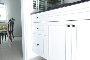 Kitchen granite counter and cabinet