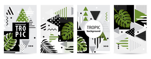 Trendy tropic pattern covers set.  Vector illustration