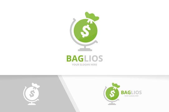 Vector bag and globe logo combination. Sack planet symbol or icon. Unique money logotype design template.