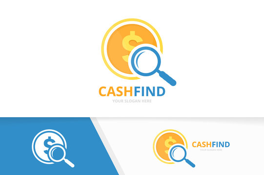 Vector coin and loupe logo combination. Money and magnifying symbol or icon. Unique cash and search logotype design template.