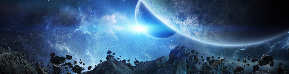 Panorama of distant planet system in space 3D rendering elements of this image furnished by NASA