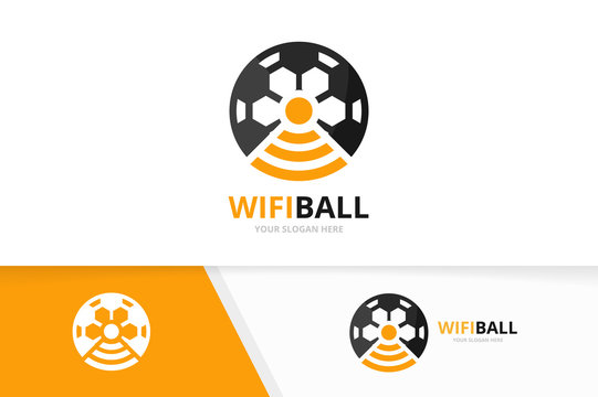 Vector soccer and wifi logo combination. Ball and signal symbol or icon. Unique football and radio, internet logotype design template.