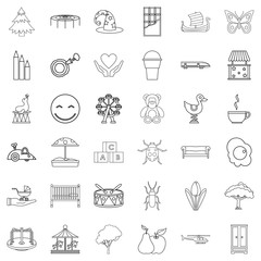 Sitter icons set, outline style