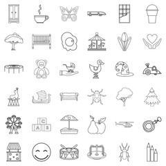 Nursemaid icons set, outline style