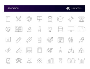 Line icons set. Education pack. Vector illustration