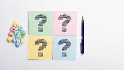 Question mark on note page