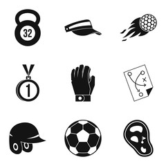 Sport stock icons set, simple style