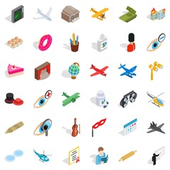 Invasion icons set, isometric style