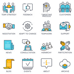 Vector flat linear icons related to business management, strategy, career progress and business process. Flat pictograms and infographics design elements - part 2