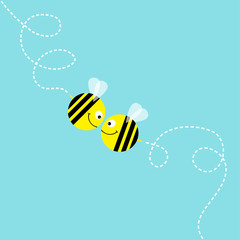Happy Valentines Day. Two flying bee kissing couple in the sky. Cute cartoon funny fat caharacter. Dash line air loop. Love greeting card. Flat design. Baby blue background