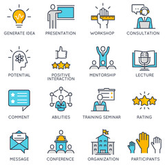 Vector flat linear icons related to to career progress, corporate management, business people training and professional consulting service. Flat pictograms and infographics design elements