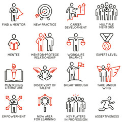 Vector set icons related to career progress, corporate management, business people training, tutorship and consulting service. Mono line pictograms and infographics design elements - part 4