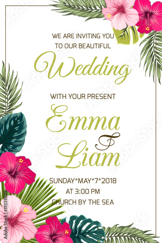 Tropical wedding invitation vector design with hibiscus flowers tropical wedding invitation vector design with hibiscus flowers exotic palm and monstera leaves on white stopboris Choice Image