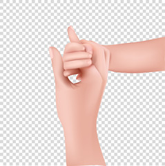 Realistic Hands mother and children on transparent background. Baby hand. 3D illustration.
