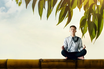 Young Businessman Siting on Bamboo wooden with Yoga Meditation posture to find Solution or Balancing in Life, Surrounded by Leaf. Photo Manipulation