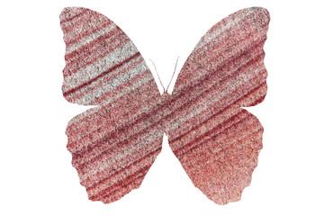 Очертание бабочки с изображением каменной текстуры внутри крыльев, изолирована на белом фоне