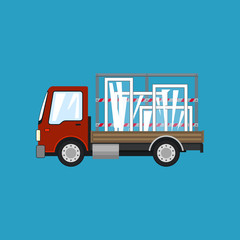 Red Small Truck with Windows Isolated on a Blue Background, Transportation and Cargo Delivery Services, Logistics, Shipping and Freight of Goods, Vector Illustration