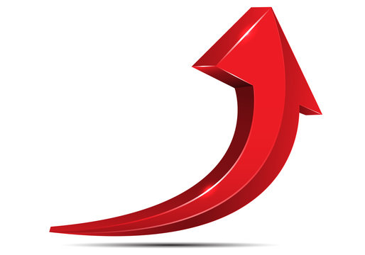Abstract red arrow symbol 3D curve up white shadow on white background vector illustration.