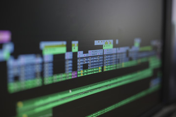 Close up view of a screen while video editing